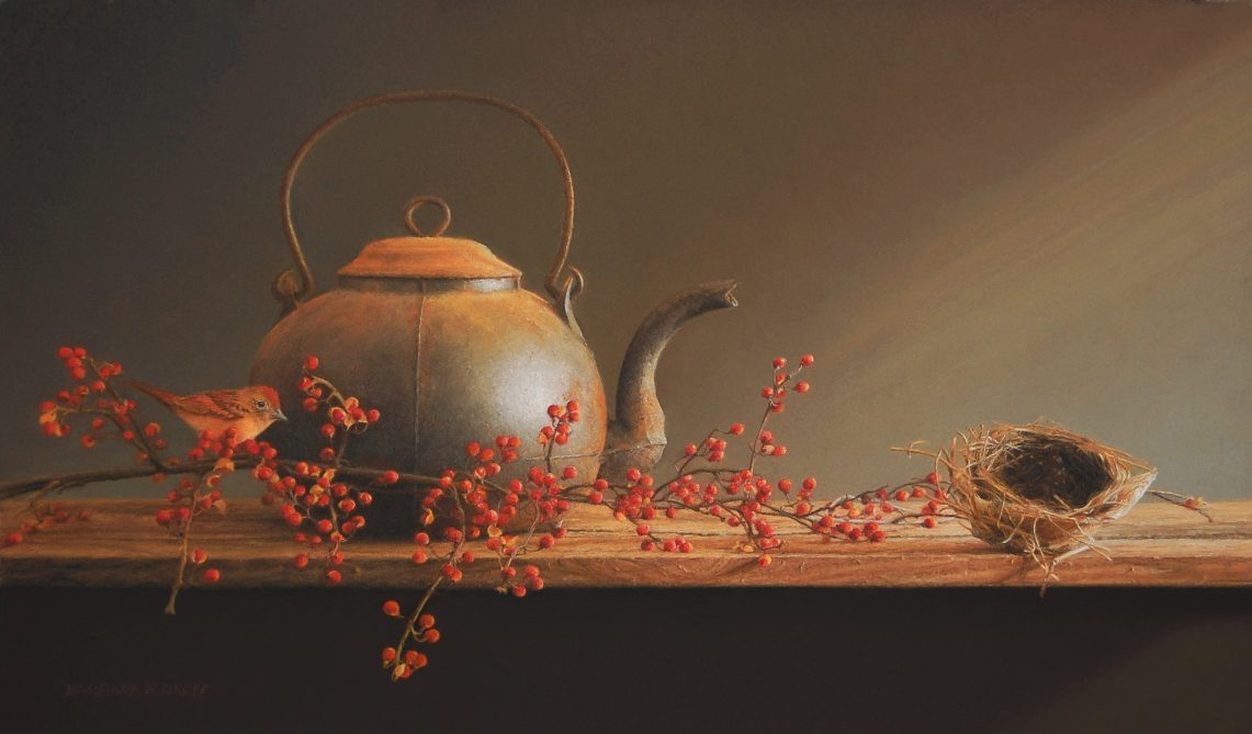 painting of a still life scene with kettle, bird, berries