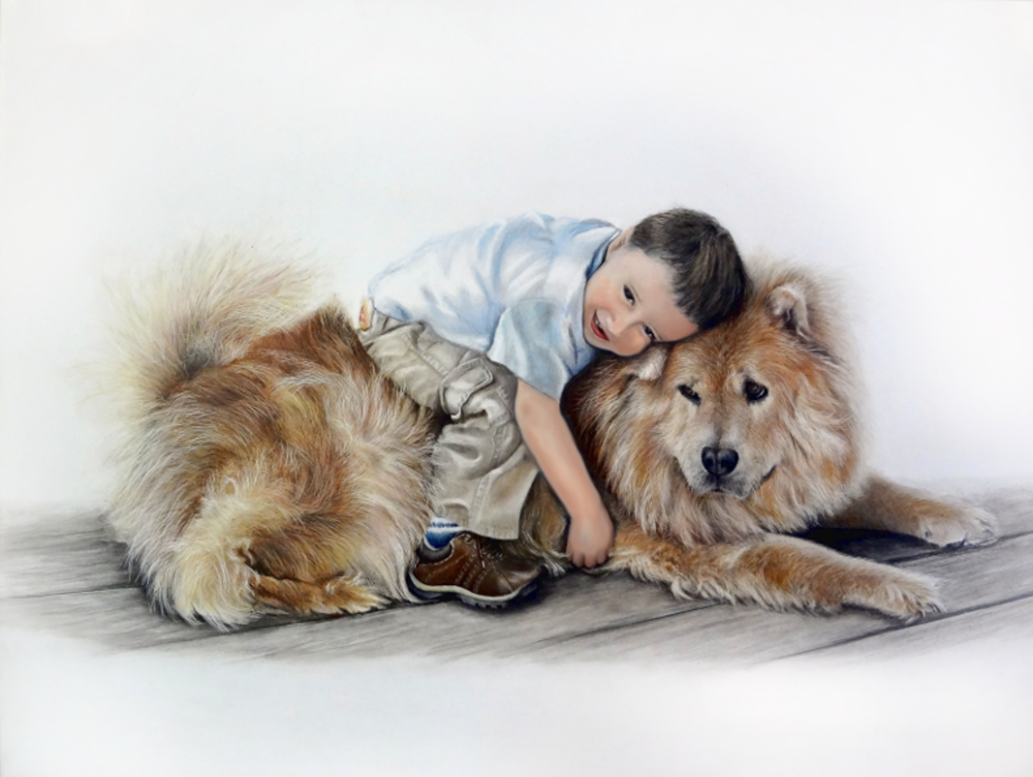 A Boy and His Best Friend, colored pencil and oil paint