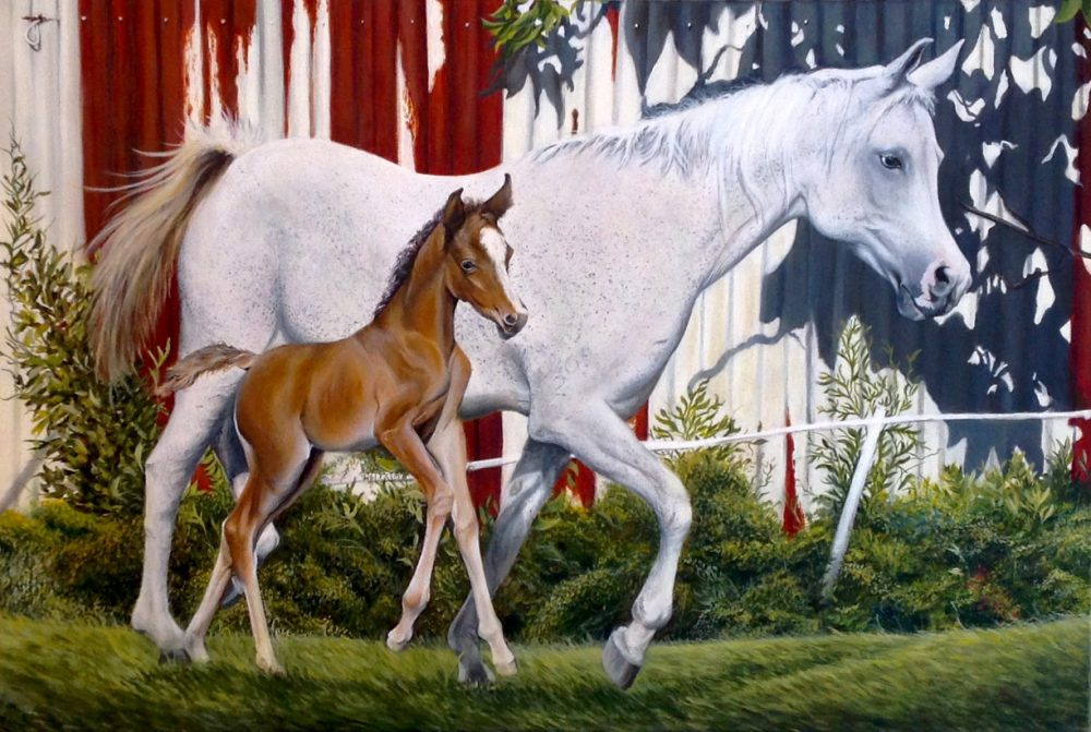 Mare and Foal, acrylic