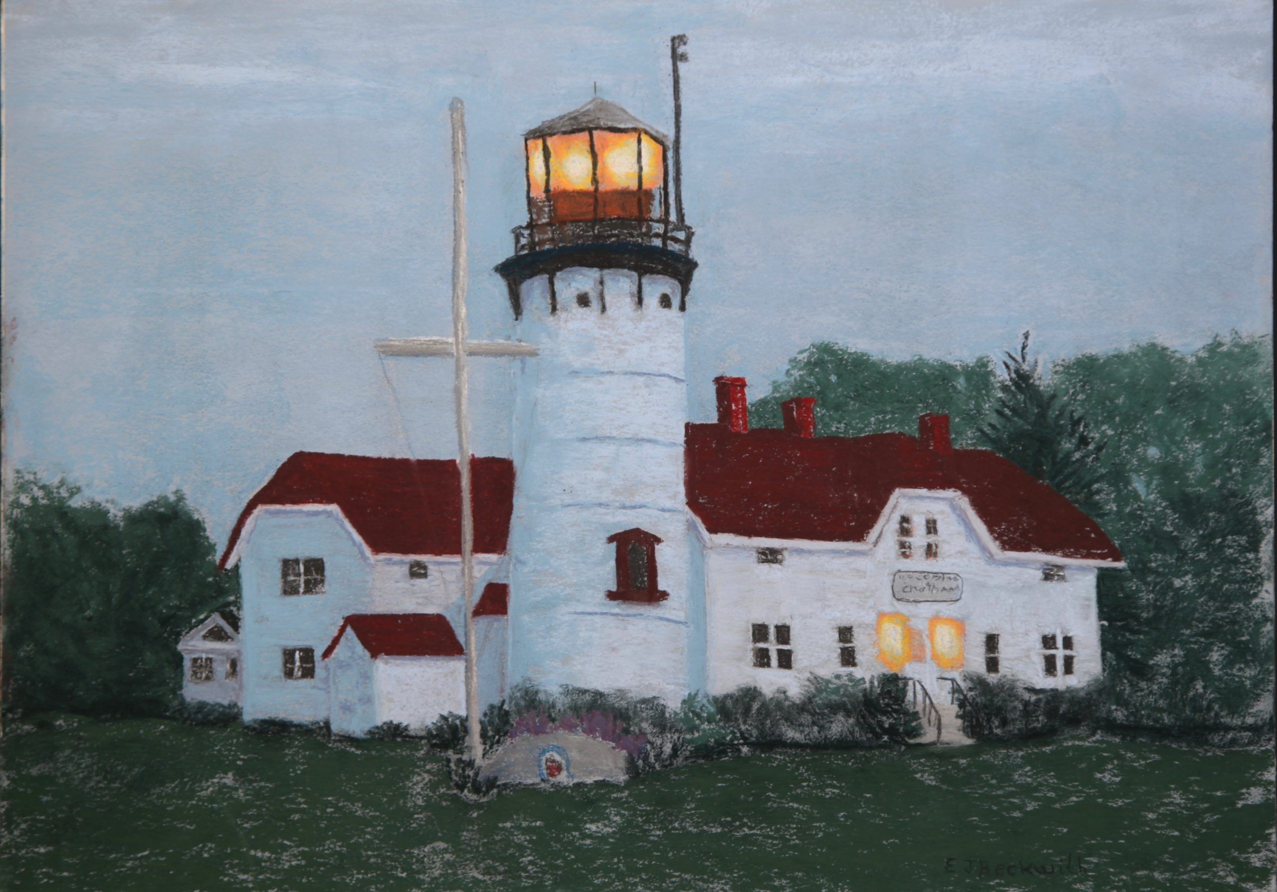 Chatham Light at Dawn, pastel