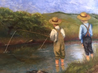 A Day of Fishing 1900, pastel