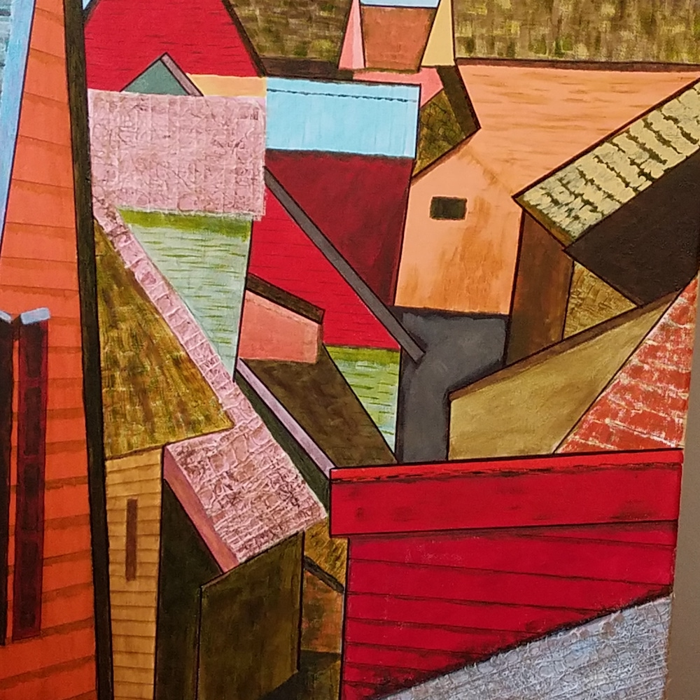 Roofs, acrylic and collage