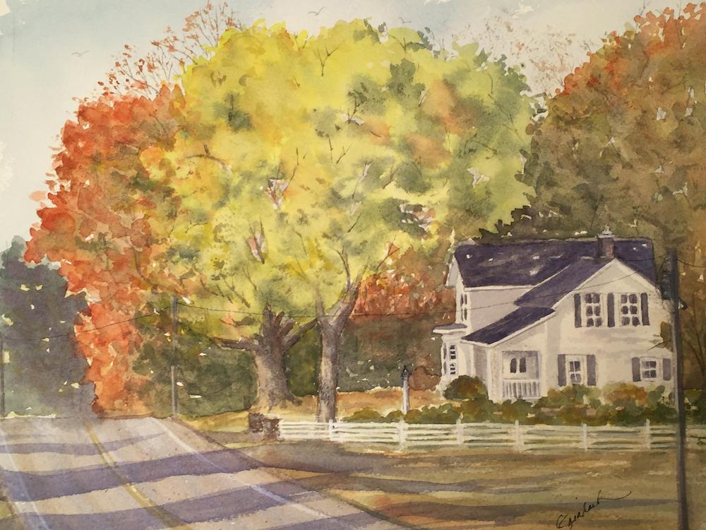 Fall Road, watercolor