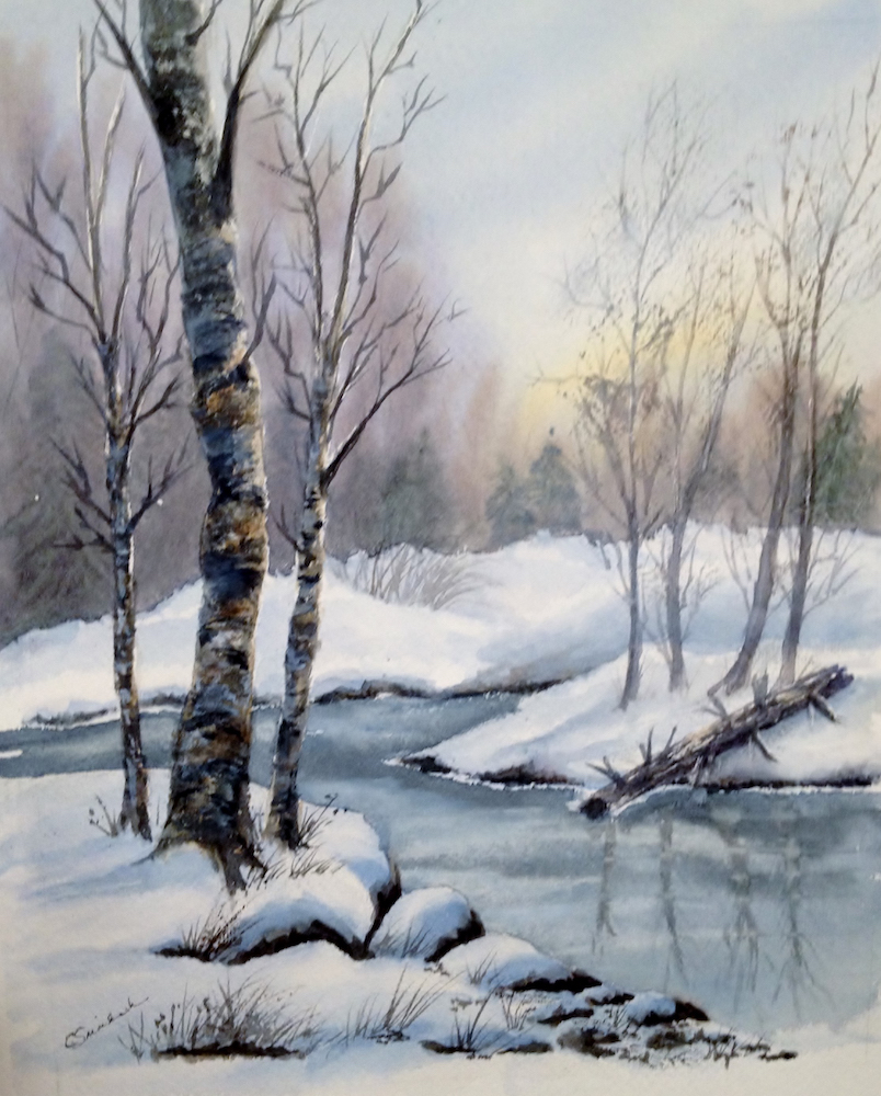 Icy Stream, watercolor