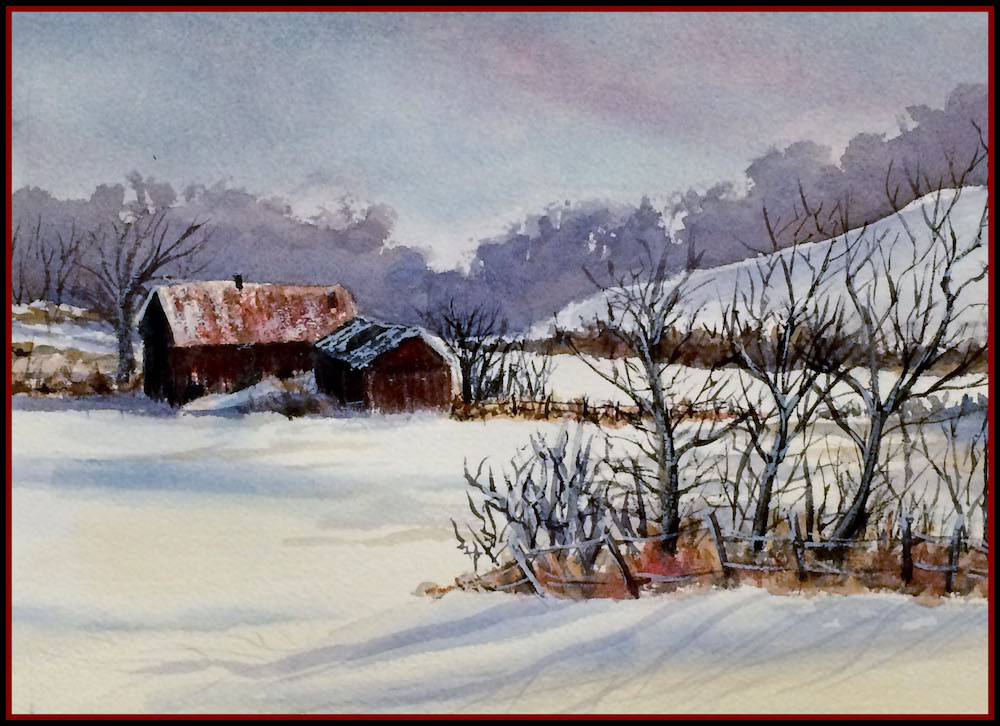 Red Barns, watercolor
