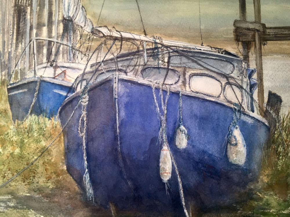 Tired Boats, watercolor