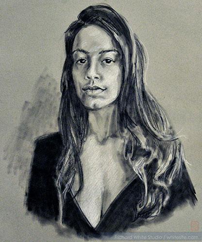 Study 1788-Bevin, black & white charcoal