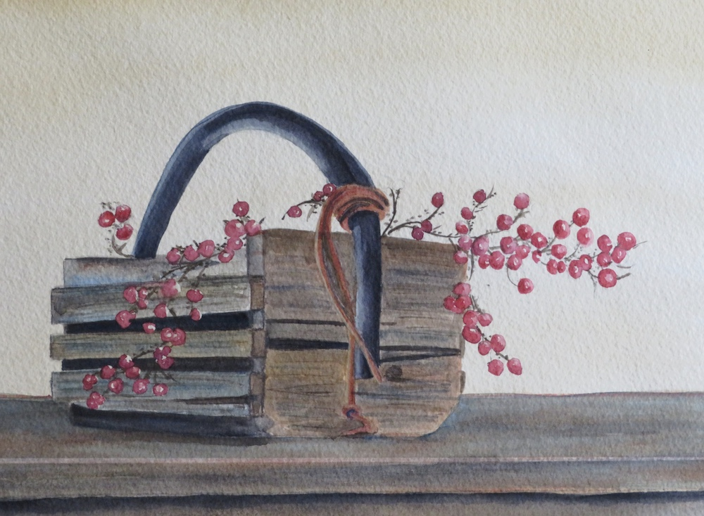 Old Wood Basket, watercolor