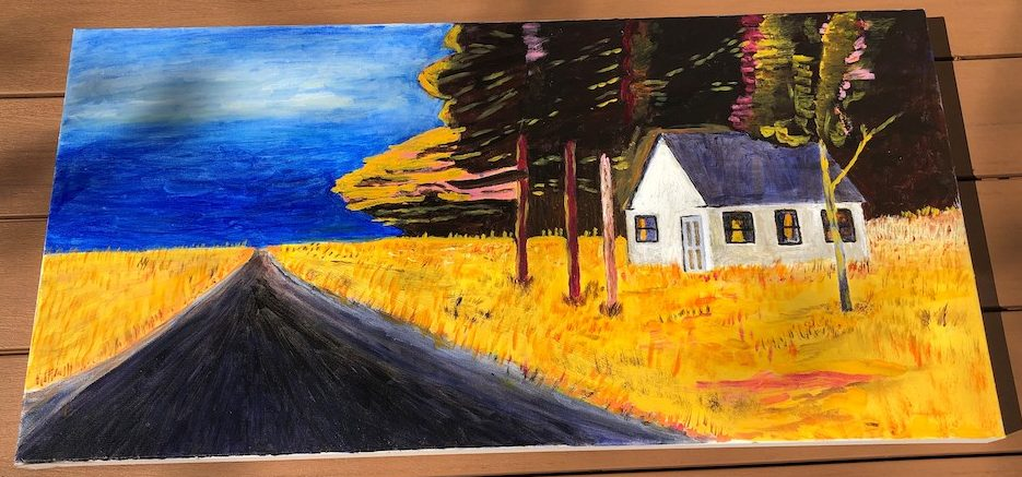 On the Road in Rockport Maine, oil