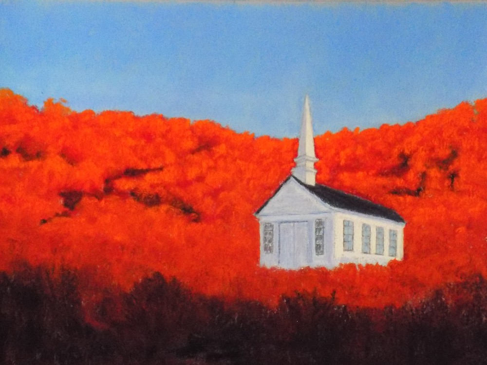 Church on the Hill, pastel