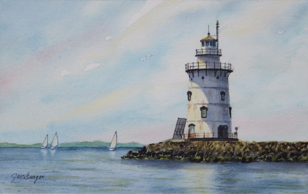 Saybrook Breakwater Light, watercolor