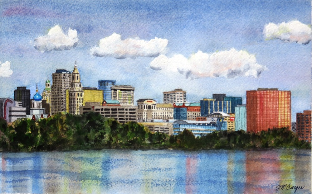Hartford Skyline, watercolor