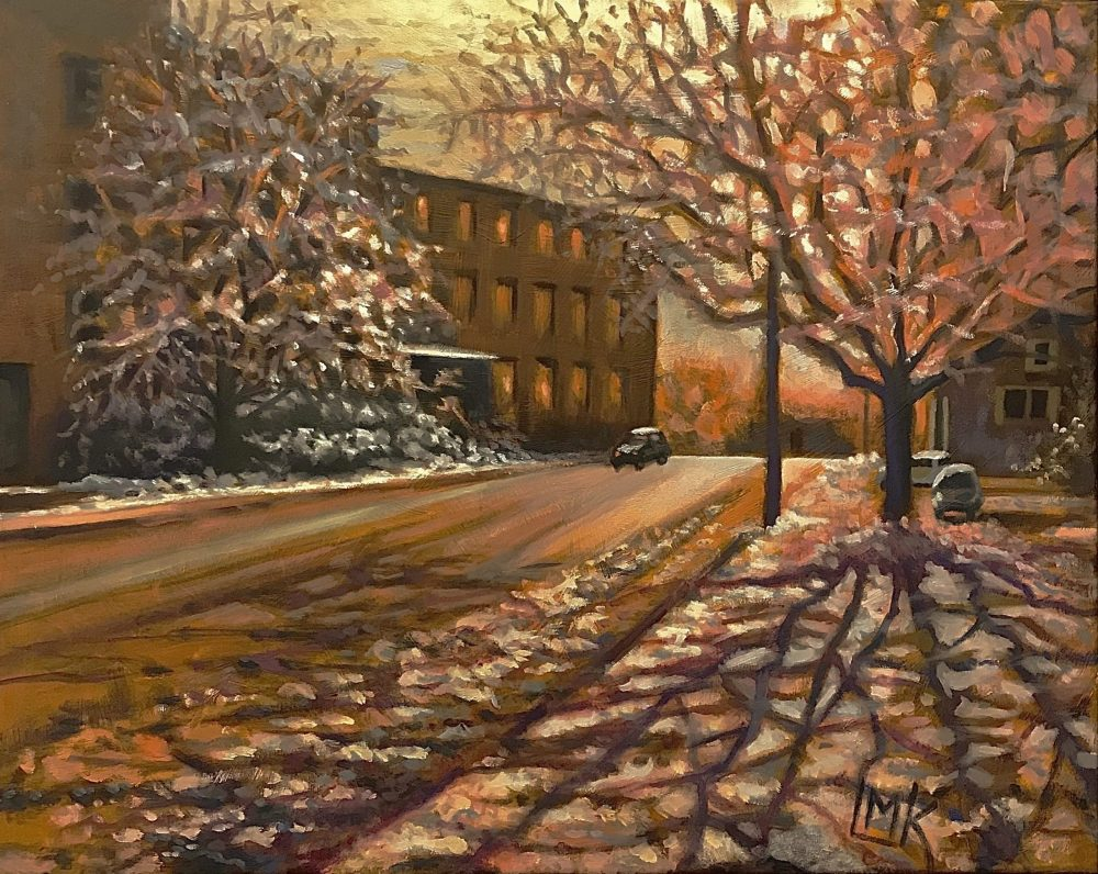 First Snow on a New England Morning, oil