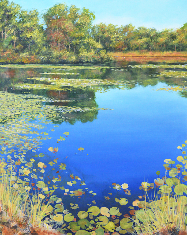 Reflections on Vineyard Pond, oil