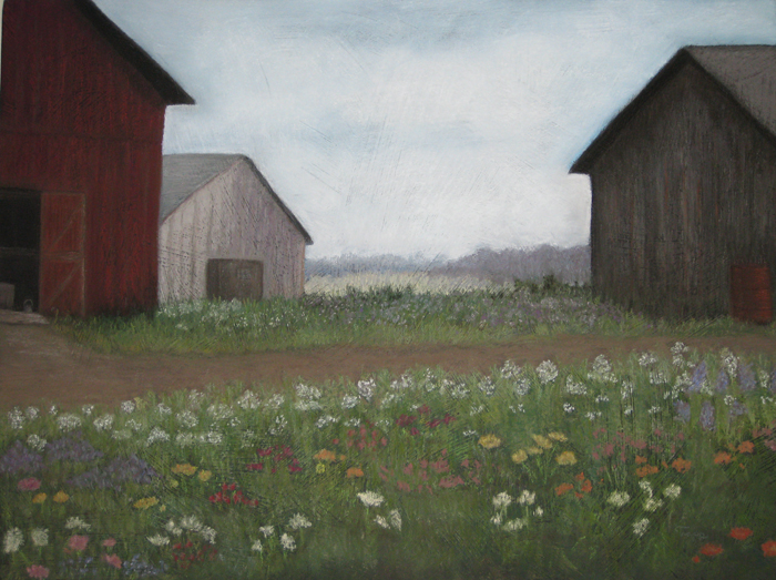 Three Barns, pastel