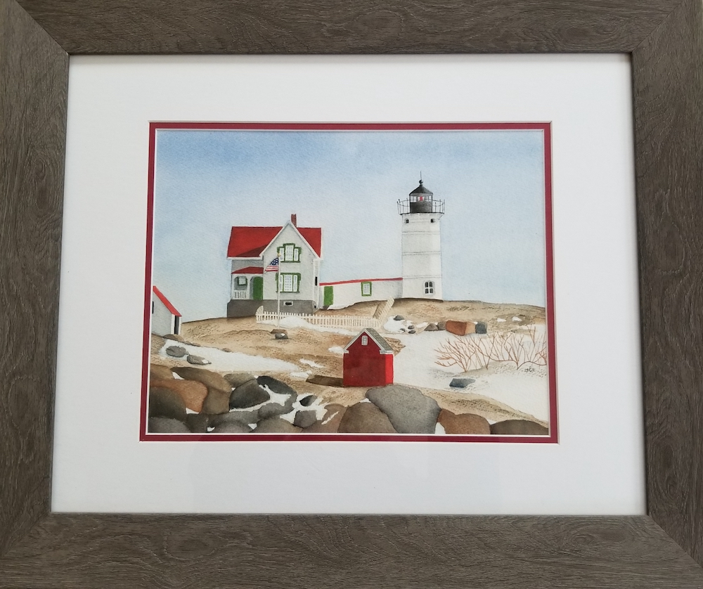 Winter at the Nubble, watercolor