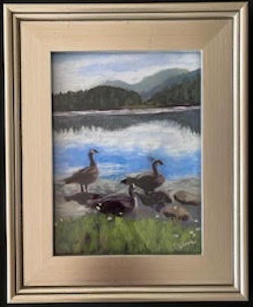Canadian Geese: Jasper Lake At Sunset, pastel