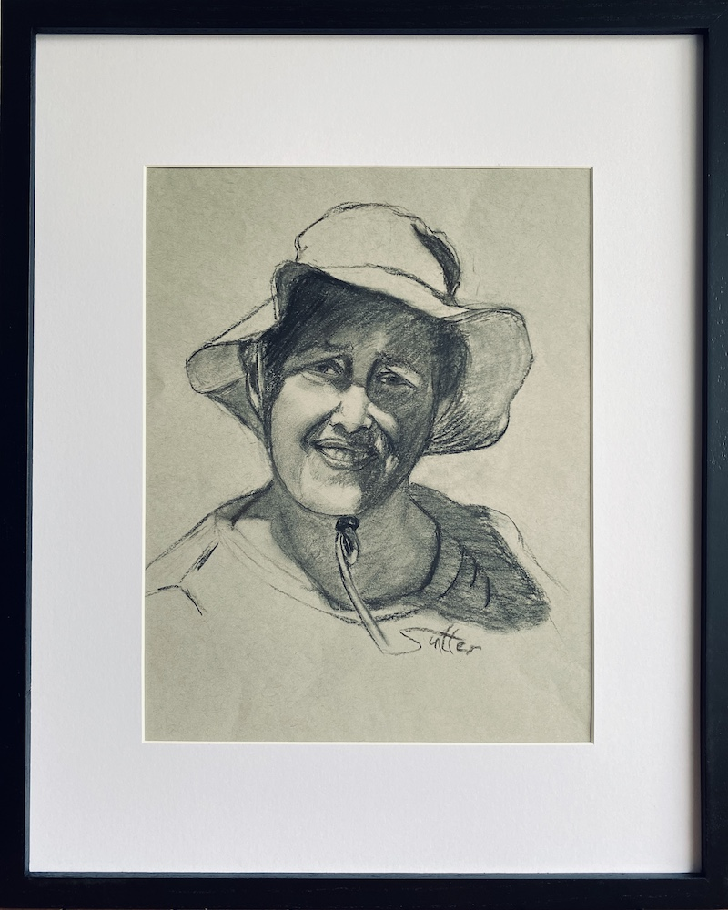 Diana in Garden Hat, charcoal