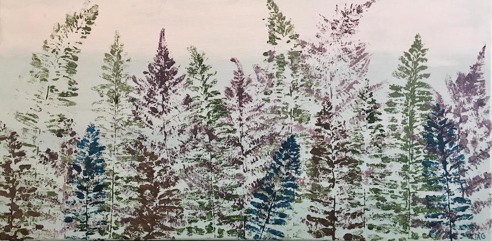 Ferns, acrylic