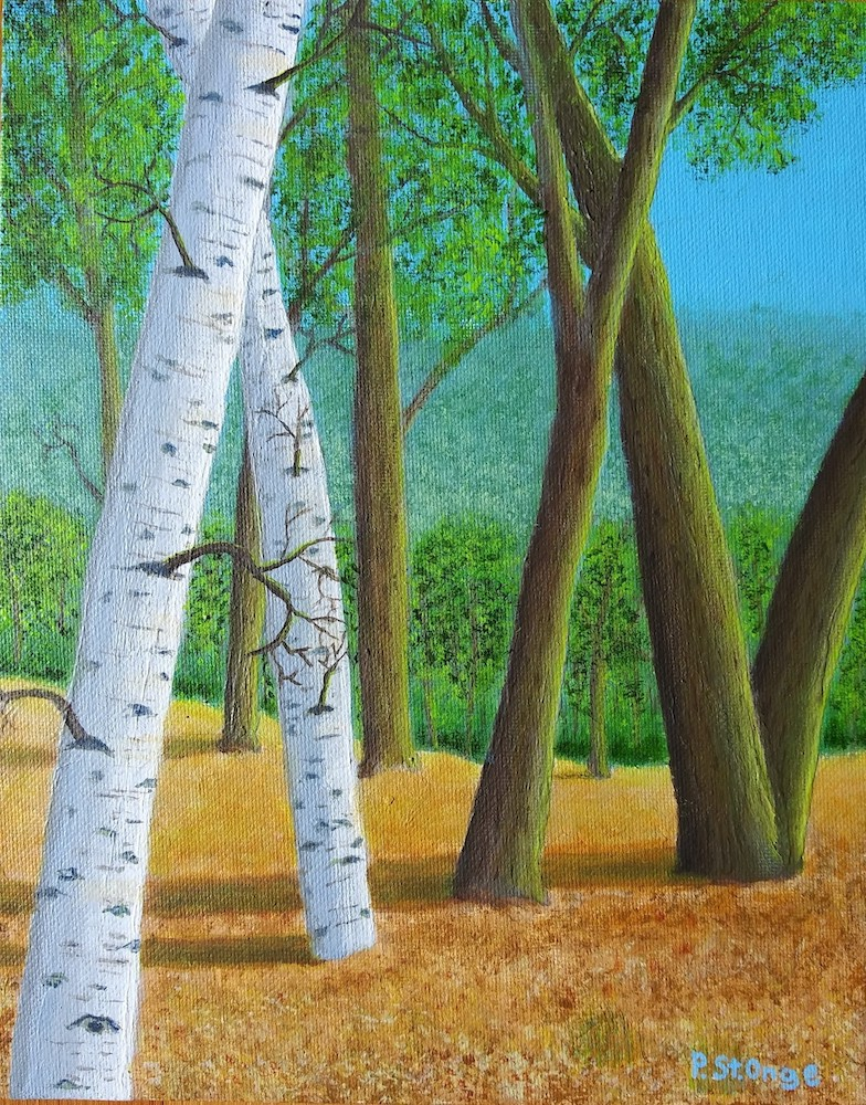 Joan's Birches, acrylic