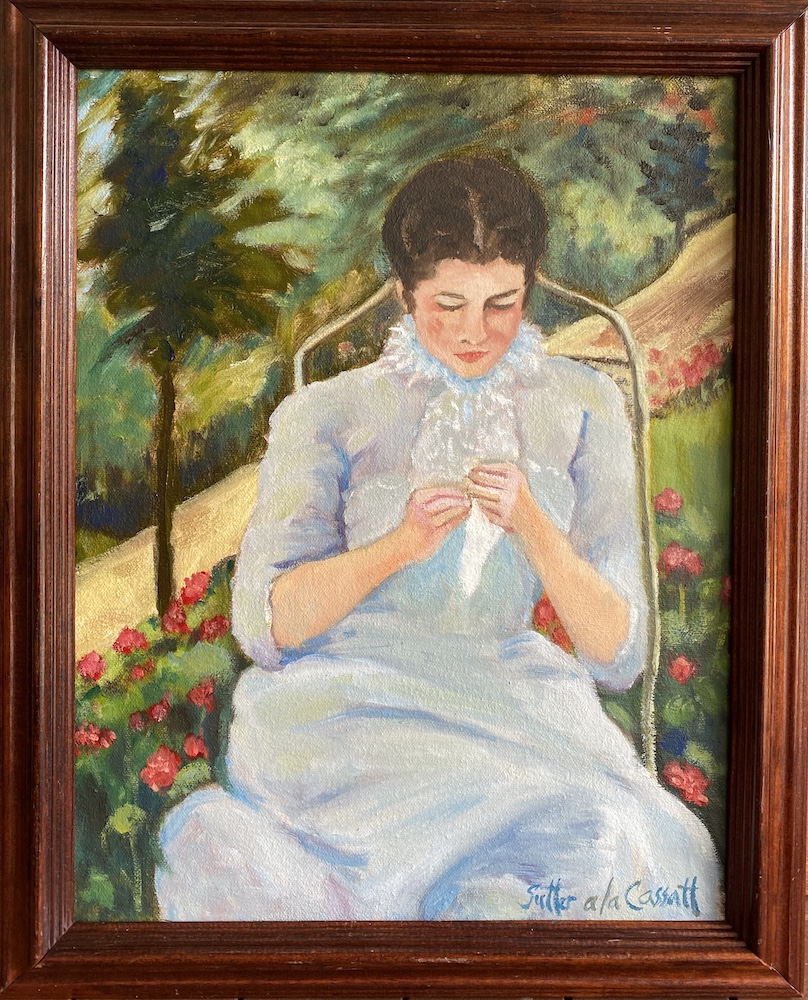 Lady Sewing in Garden a la Cassatt, oil