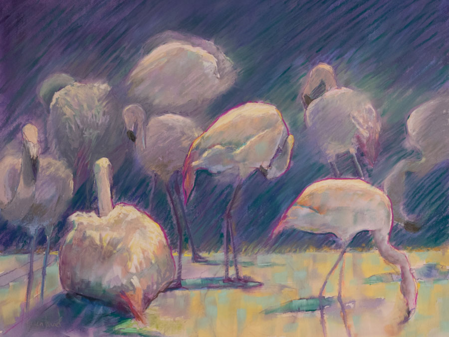 The Smart Set, pastel over watercolor