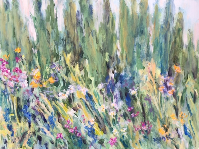 Wildflowers and Cypresses, acrylic