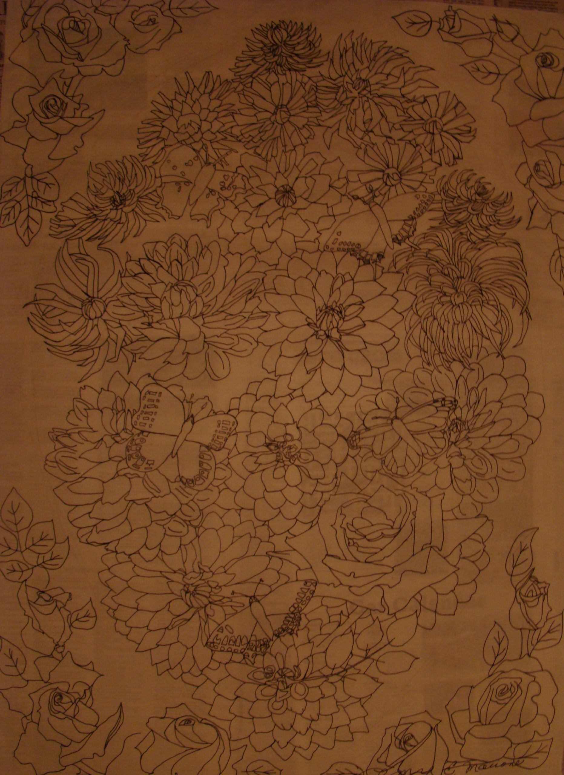 Oval of Flowers, ink on mulberry rice paper