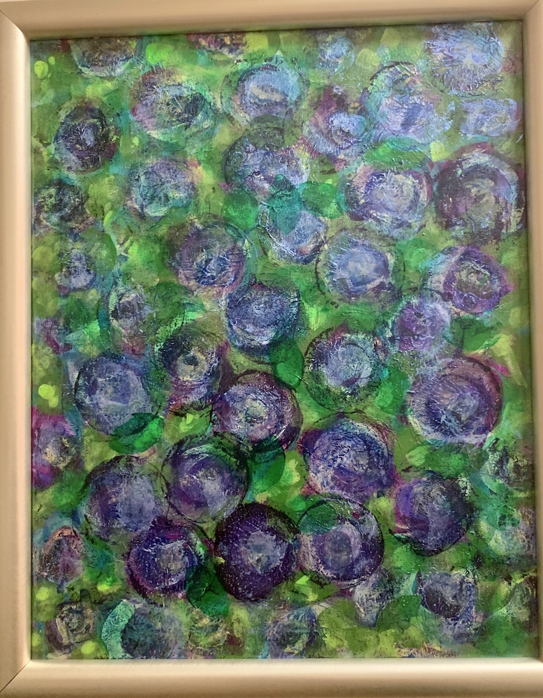 Blueberries, acrylic