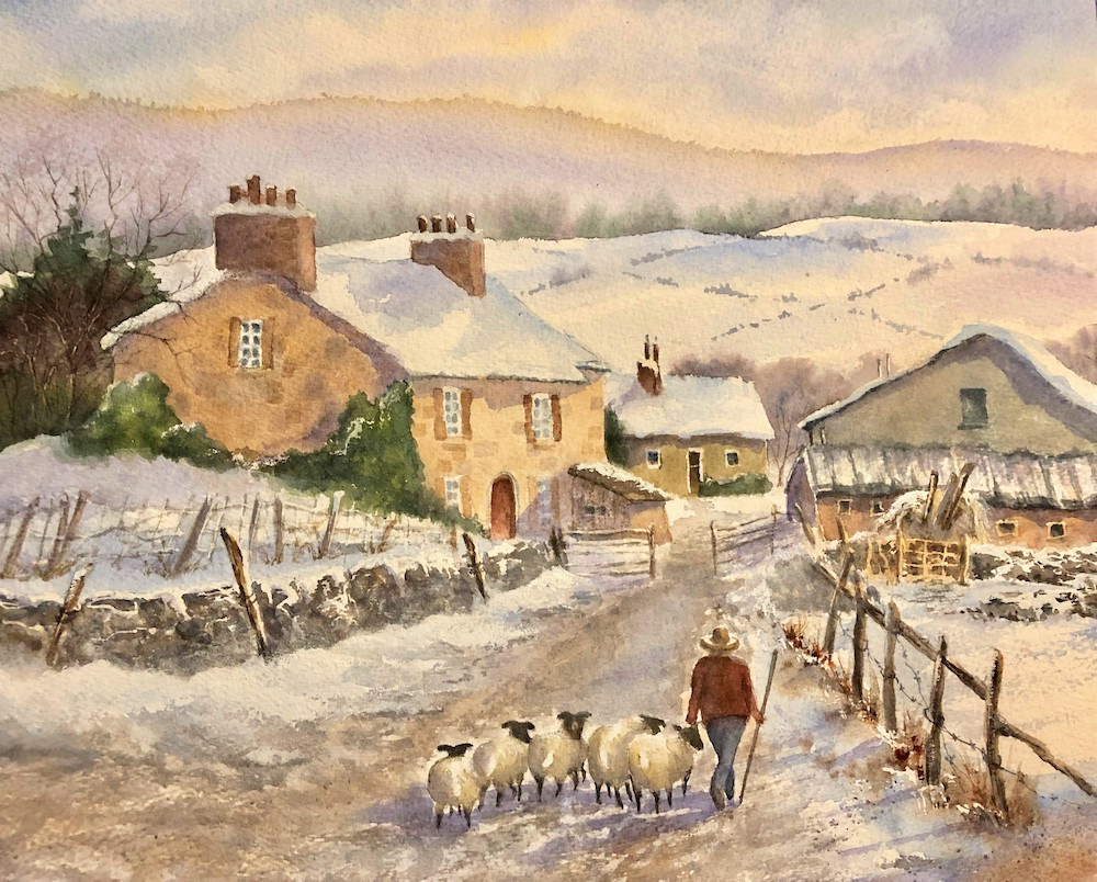 Linton-Wharfedale Shepherd, watercolor