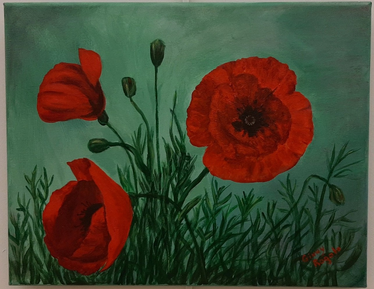 Red Poppies, acrylic