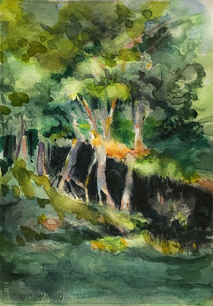 Lower Club Pond, watercolor