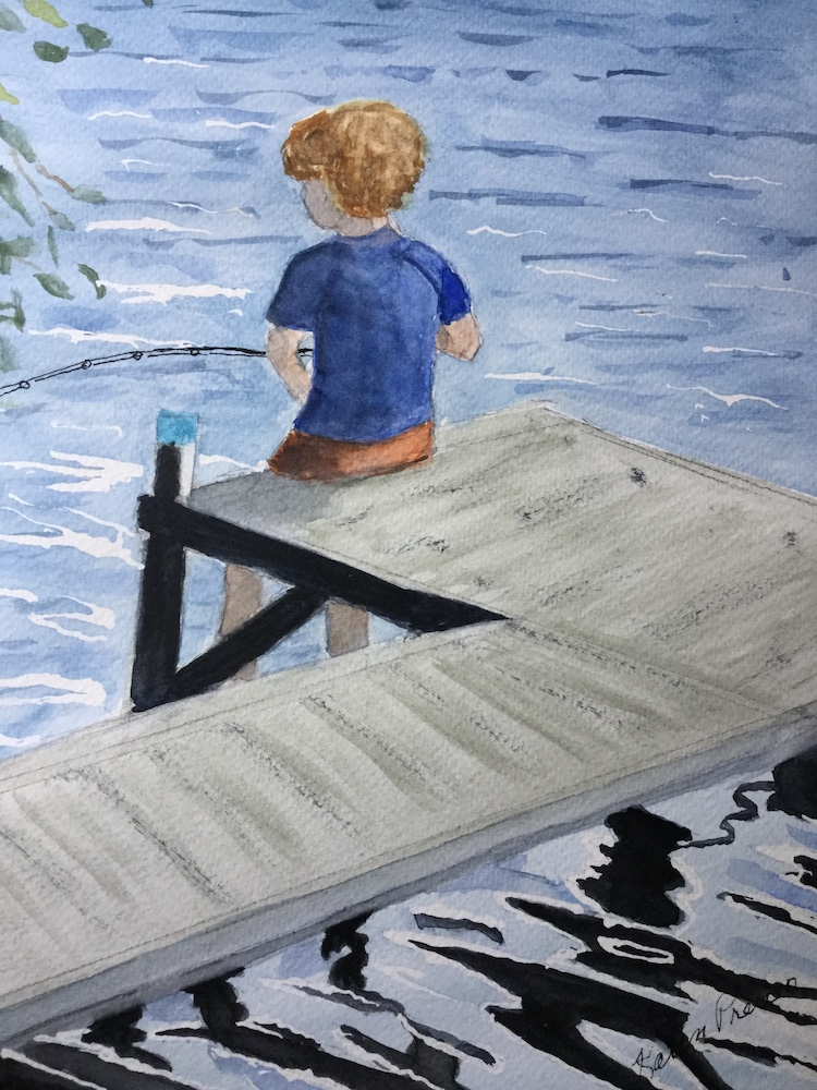Gone Fishin', watercolor