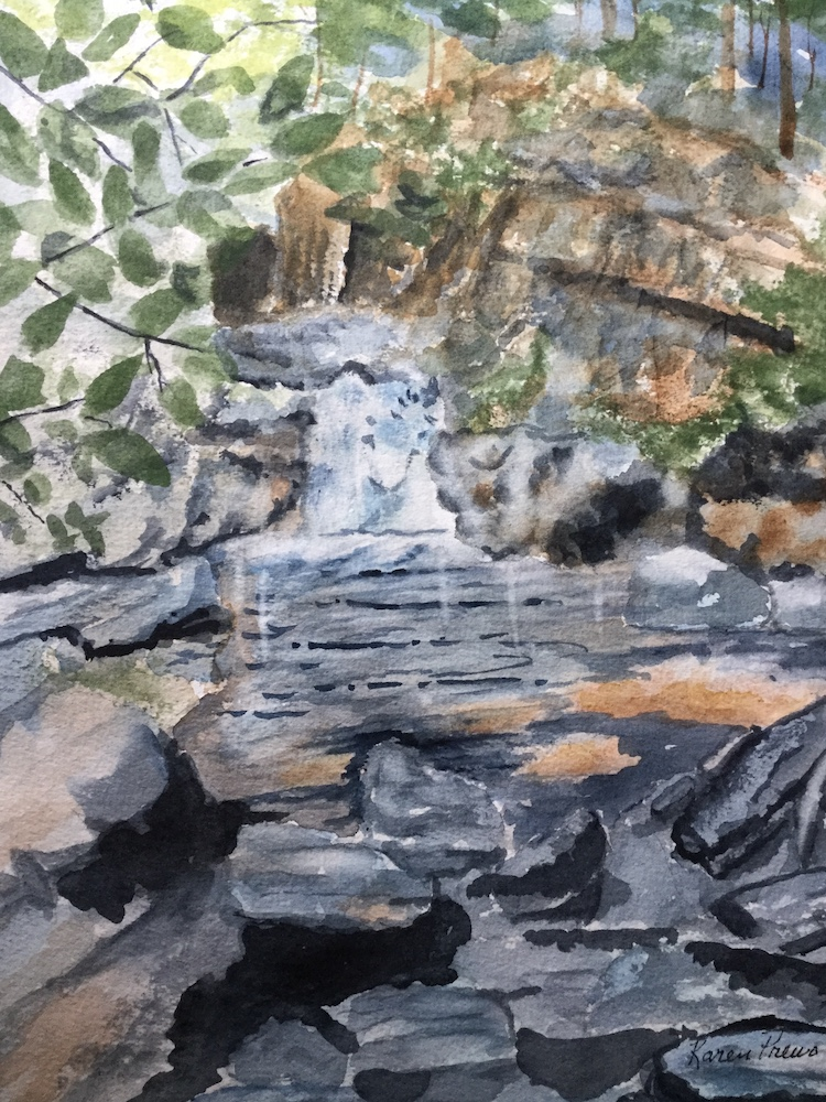 Waterfalls, watercolor