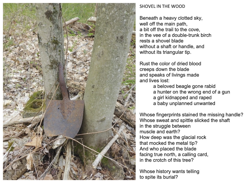 Who's Buried, photography & Shovel in the Wood, poetry