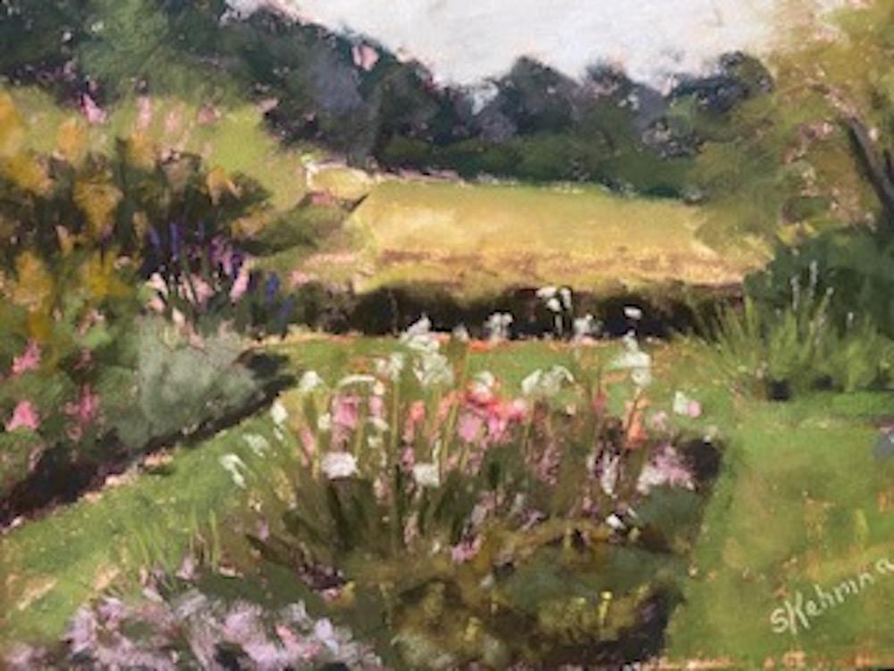 Sunken Garden, Hillstead, pastel