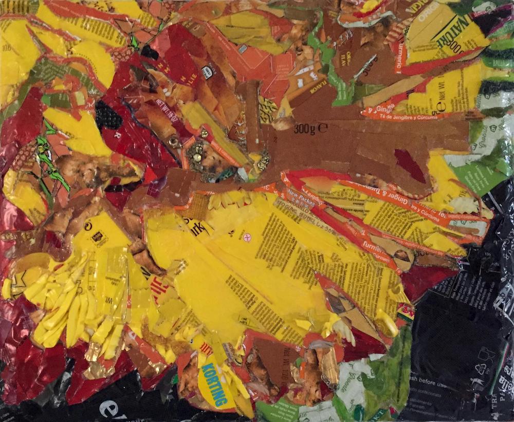 Name Something Yellow #10 (Daffodil), everyday trash, upcycled frame, adhesives, 300